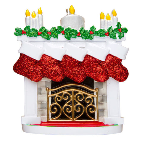 OR1253-5 - New Mantle with Stocking Family of 5 Personalized Christmas Ornament
