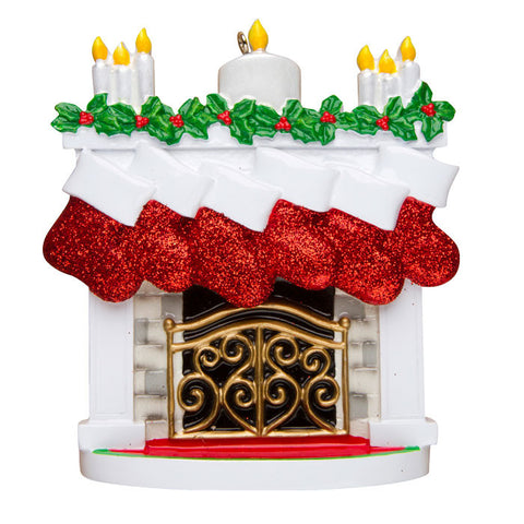 OR1253-6 - New Mantle with Stocking Family of 6 Personalized Christmas Ornament