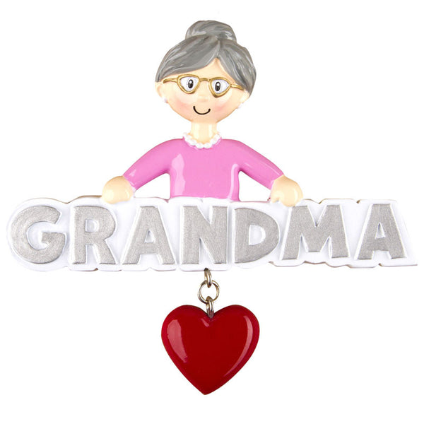 OR1256 - Grandma with Heart Personalized Christmas Ornament