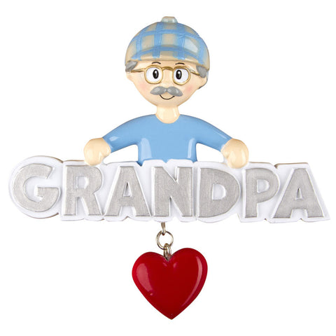 OR1257 - Grandpa with Heart Personalized Christmas Ornament