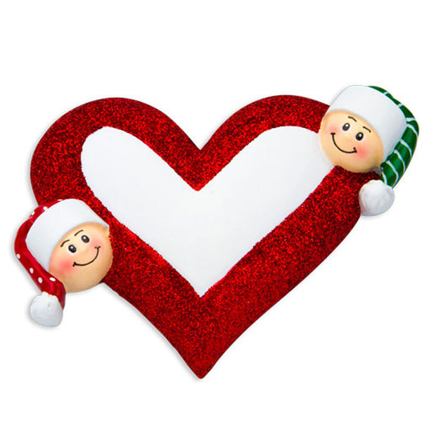 OR1258-2 - Heart with Faces 2 Personalized Christmas Ornament