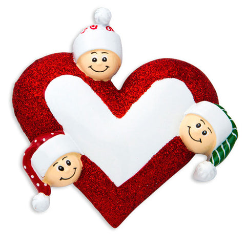 OR1258-3 - Heart with Faces 3 Personalized Christmas Ornament