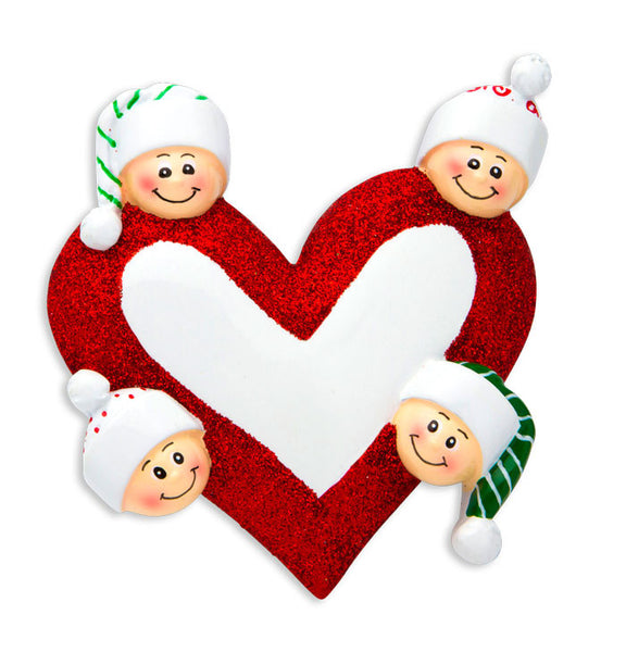 OR1258-4 - Heart with Faces 4 Personalized Christmas Ornament