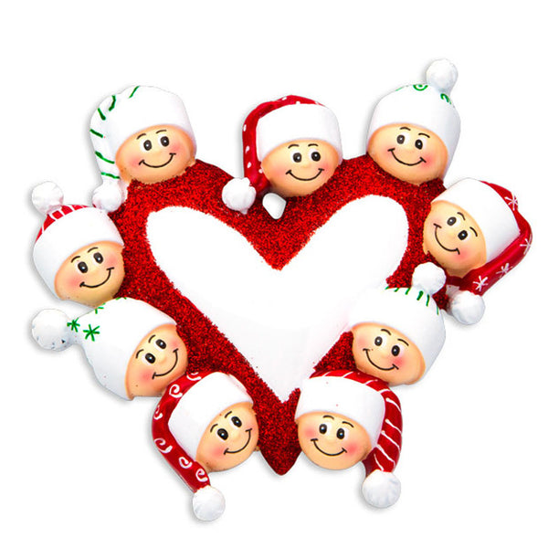 OR1258-9 - Heart with Faces 9 Personalized Christmas Ornament