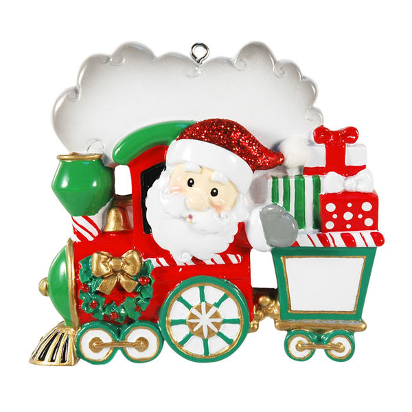OR1260-2 - Single Family Train 1 - 2 Kids Personalized Christmas Ornament