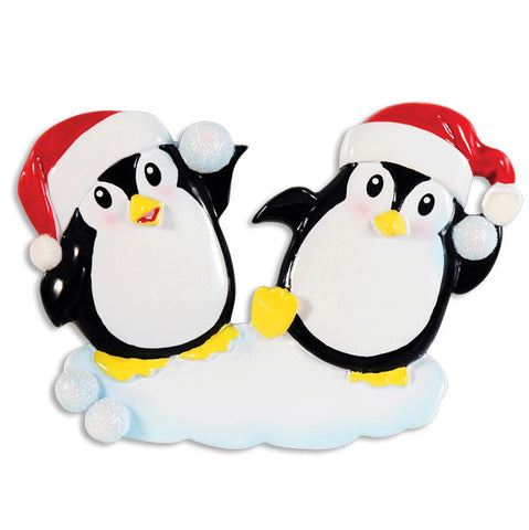 OR1318 - Penguin Snowball Couple Personalized Christmas Ornament