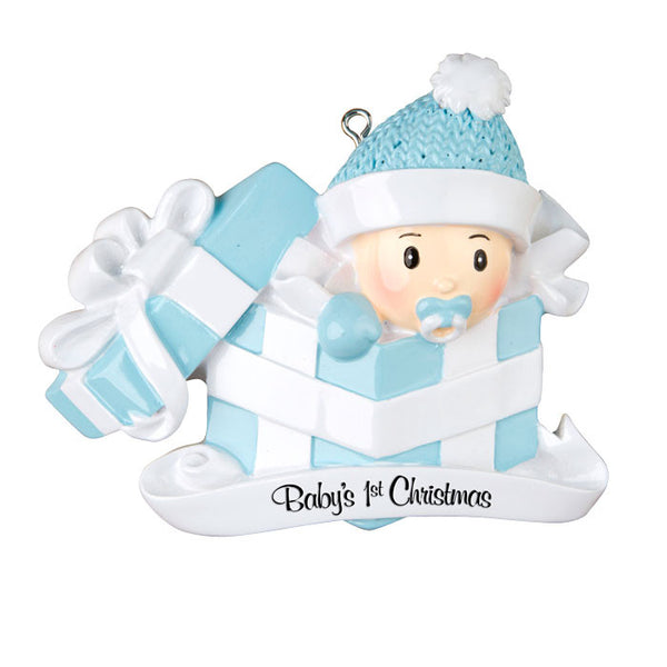 OR1330-B - Baby Boy In Present Personalized Christmas Ornament