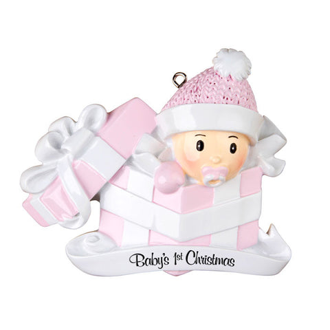 OR1330-P - Baby Girl In Present Personalized Christmas Ornament