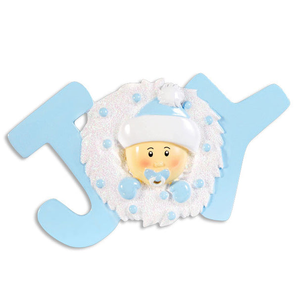 OR1337-B - Joy Baby Blue Personalized Christmas Ornament