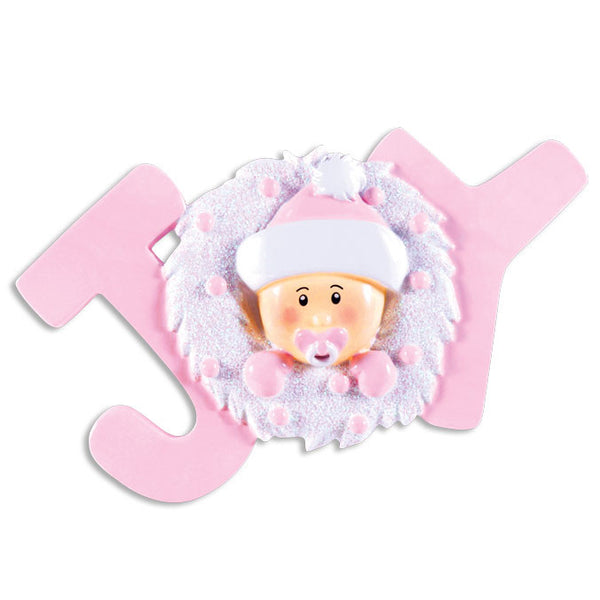 OR1337-P - Joy Baby Pink Personalized Christmas Ornament