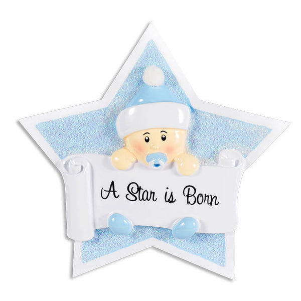 OR1338-B - Boy On Star Personalized Christmas Ornament