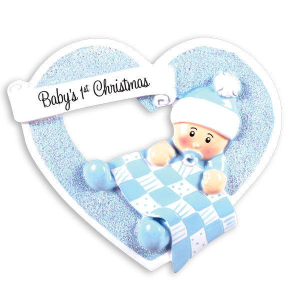 OR1339-B - Boy In Heart Personalized Christmas Ornament