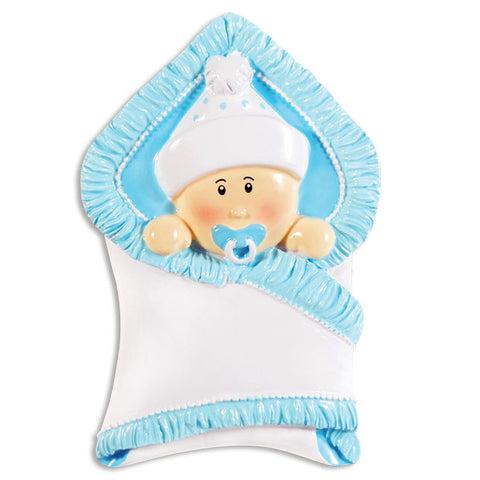 OR1340-B - Bundle Baby Boy Personalized Christmas Ornament