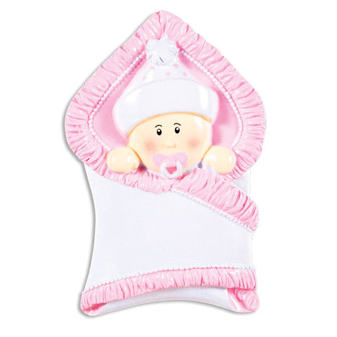 OR1340-P - Bundle Baby Girl Personalized Christmas Ornament