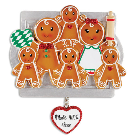 OR1345-6 - Made W/Love Family Of 6 Personalized Christmas Ornament