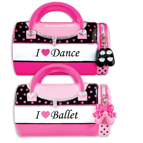 OR1349-WS - Child's I Love Dance/I Love Ballet Bag (6 of each) Personalized Christmas Ornament