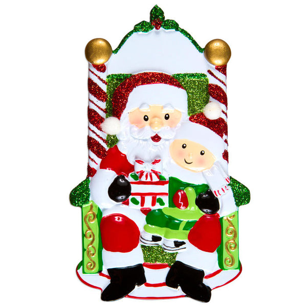 OR1352-1 - One Child On Santa's Lap Personalized Christmas Ornament