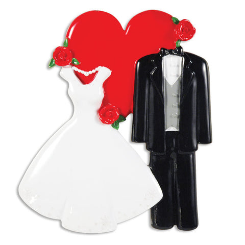 OR1354 - Wedding Dress/Tux W/Heart Personalized Christmas Ornament