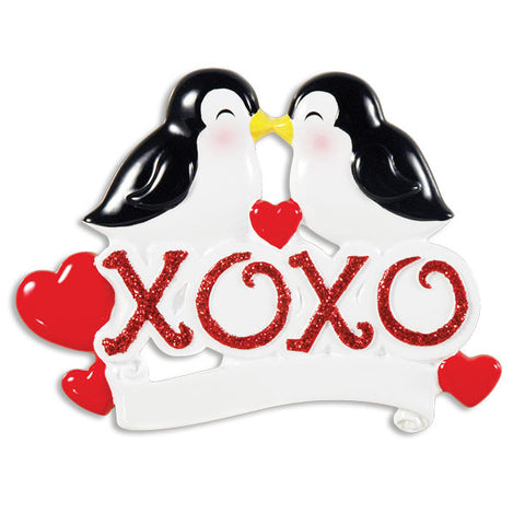 OR1355 - XOXO Penguins Personalized Christmas Ornament