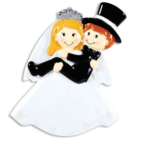 OR1356 - Bride Carrying Groom Personalized Christmas Ornament