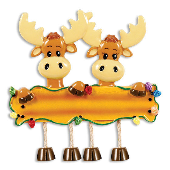 OR1364-2 - Moose Family Of 2 Personalized Christmas Ornament