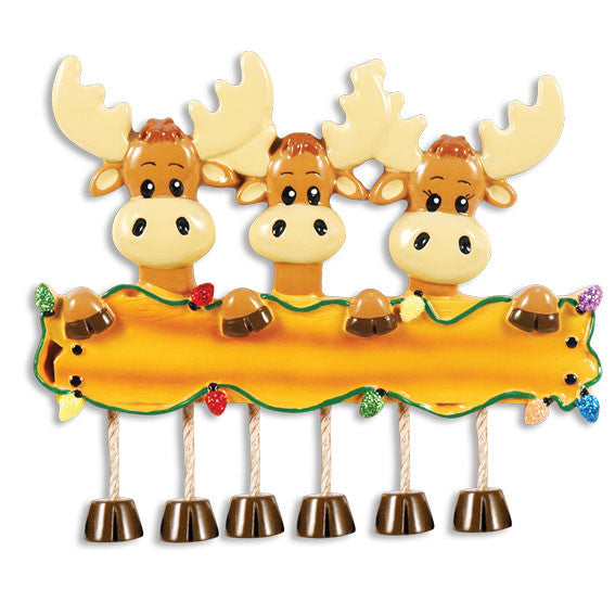 OR1364-3 - Moose Family Of 3 Personalized Christmas Ornament