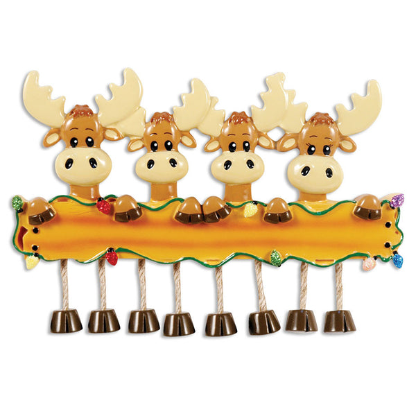 OR1364-4 - Moose Family Of 4 Personalized Christmas Ornament