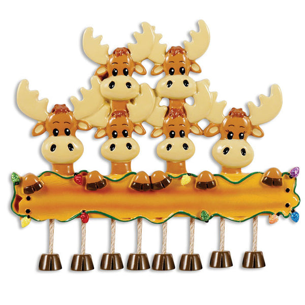 OR1364-6 - Moose Family Of 6 Personalized Christmas Ornament