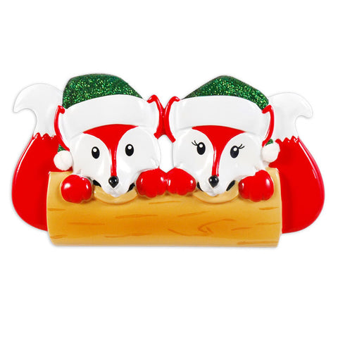 OR1365-2 - Fox Family Of 2 Personalized Christmas Ornament