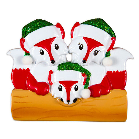 OR1365-3 - Fox Family Of 3 Personalized Christmas Ornament