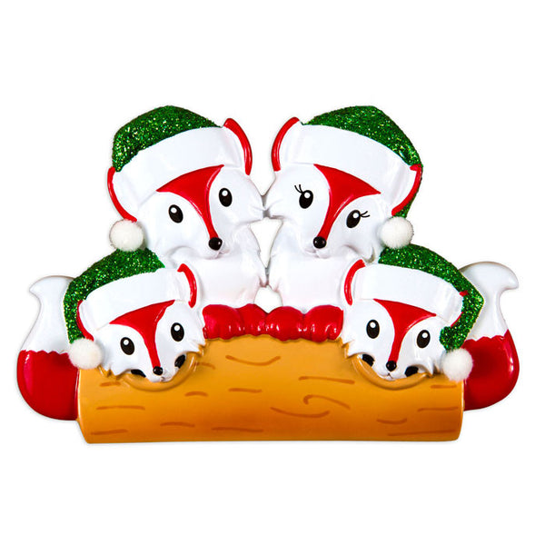 OR1365-4 - Fox Family Of 4 Personalized Christmas Ornament