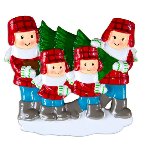 OR1366-4 - Christmas Tree Lot Family Of 4 Personalized Christmas Ornament