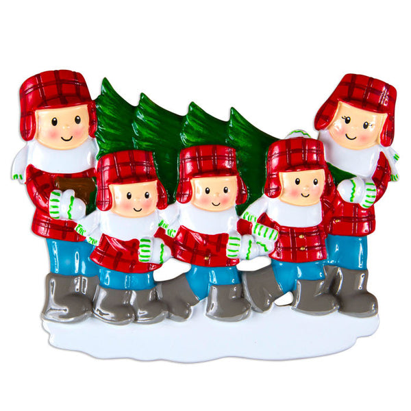 OR1366-5 - Christmas Tree Lot Family Of 5 Personalized Christmas Ornament