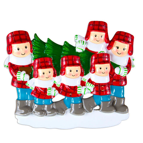 OR1366-6 - Christmas Tree Lot Family Of 6 Personalized Christmas Ornament