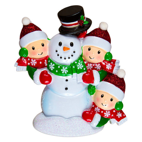 OR1367-3 - Family Building Snowman Of 3 Personalized Christmas Ornament