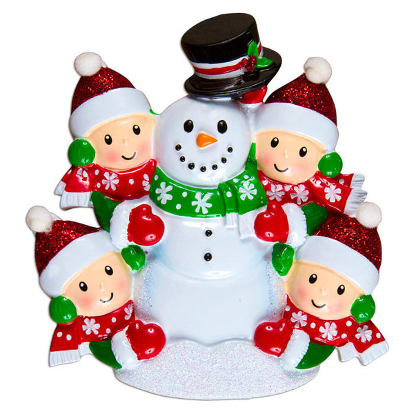 OR1367-4 - Family Building Snowman Of 4 Personalized Christmas Ornament