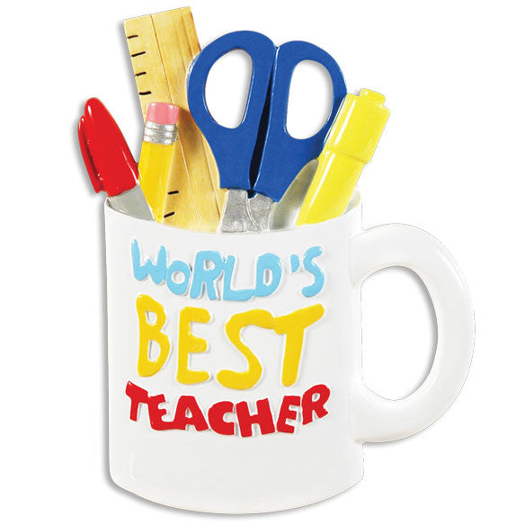 OR1390 - Best Teacher Mug Personalized Christmas Ornament