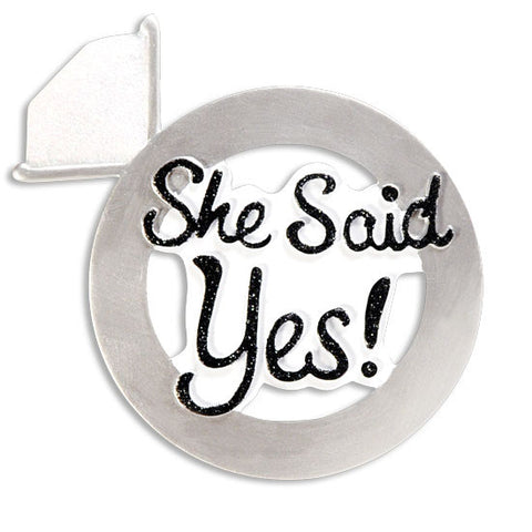 OR1393 - She Said Yes! Engagement Couple Personalized Christmas Ornament