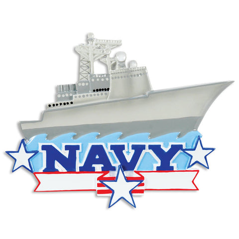 OR1394 - Navy Air Craft Carrier Personalized Christmas Ornament