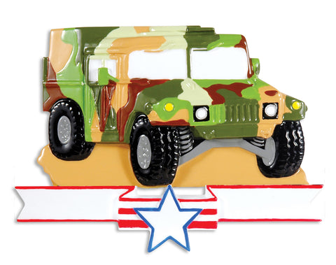OR1395 - Marine Humvee Personalized Christmas Ornament