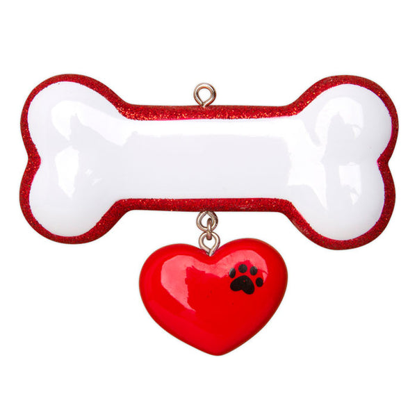 OR1403 - Dog Bone W/Ribbon Personalized Christmas Ornament