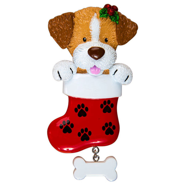 OR1405 - Dog In Stocking Personalized Christmas Ornament