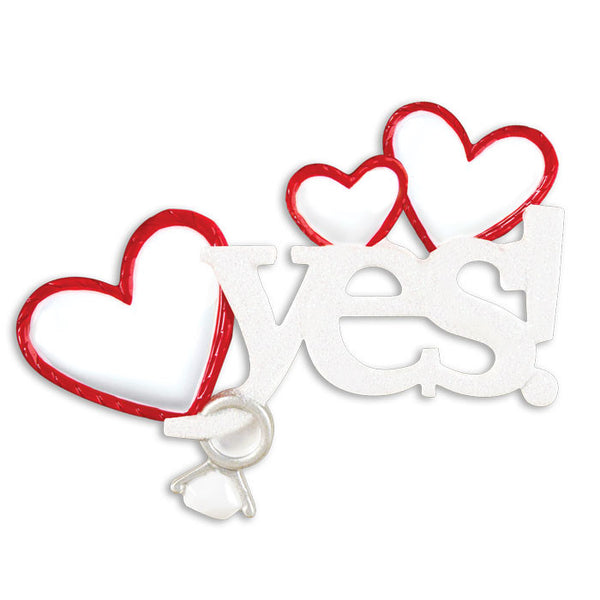 OR1420 - Yes! Engagement Personalized Christmas Ornament