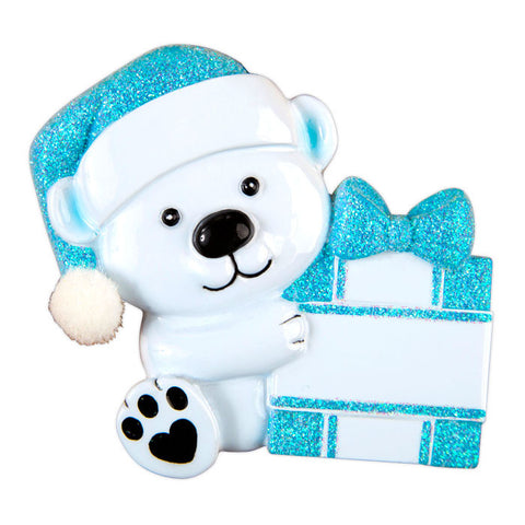 OR1424-B - Baby Bear Holding Present - Blue Personalized Christmas Ornament