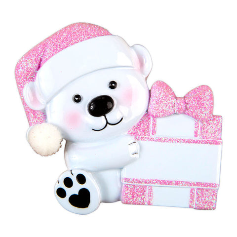 OR1424-P - Baby Bear Hold Present-Pink Personalized Christmas Ornament