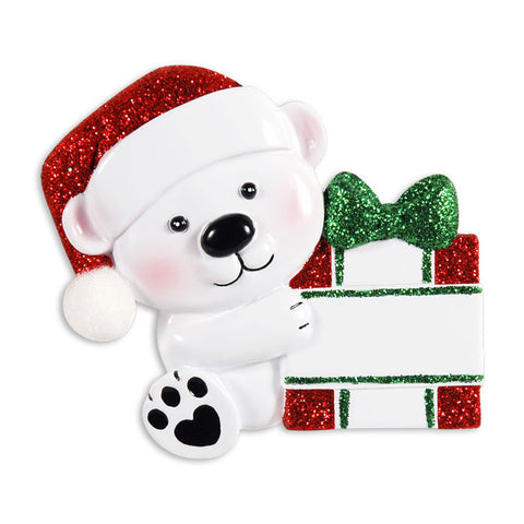 OR1424-RG - Baby Bear Hold Present - Red + Green Personalized Christmas Ornament