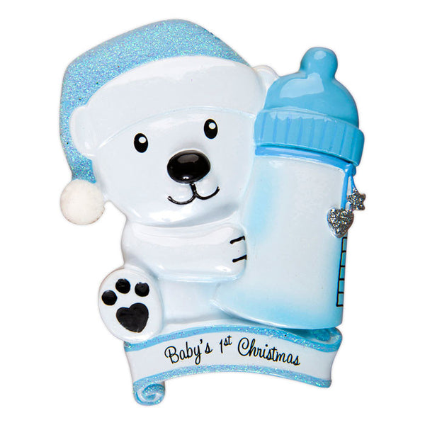 OR1425-B - Baby Bear Holding Bottle - Blue Personalized Christmas Ornament
