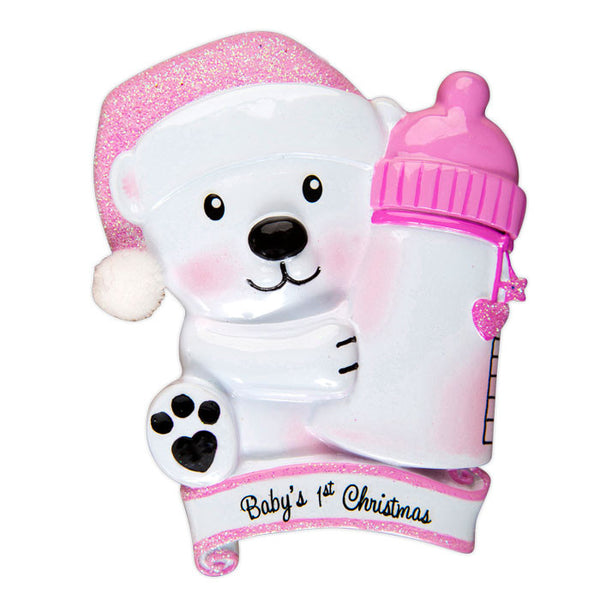 OR1425-P - Baby Bear Holding Bottle - Pink Personalized Christmas Ornament