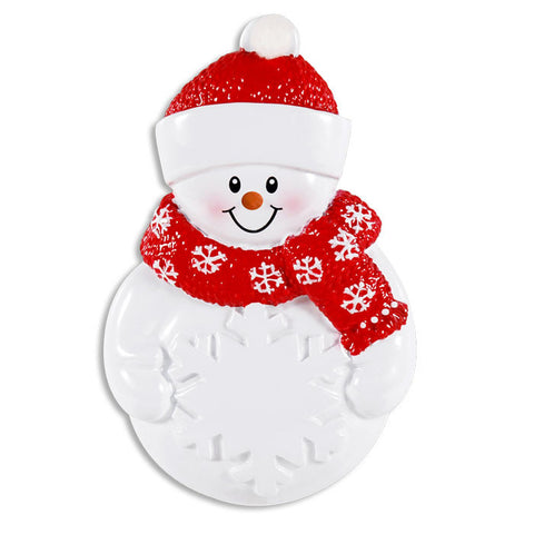 OR1430 - Snowman W/Snowflake Personalized Christmas Ornament