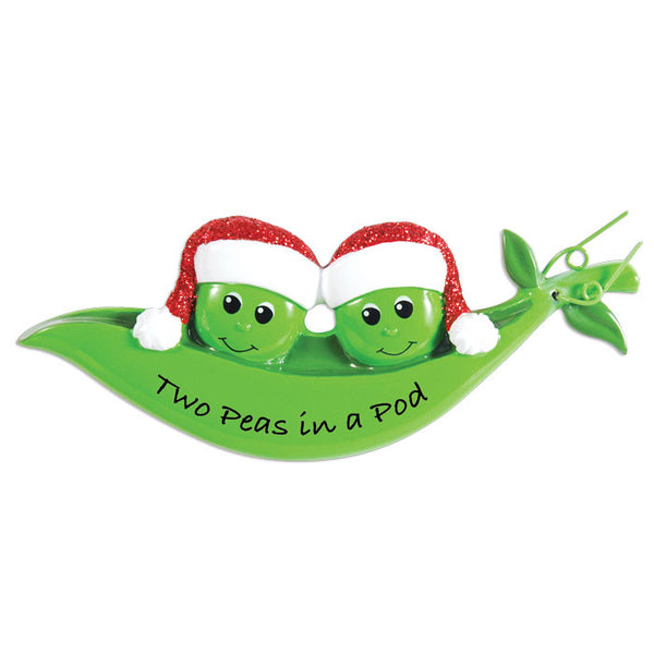 OR1432-2 - New Peapod Family Of 2 Personalized Christmas Ornament